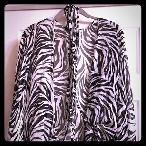 Boston Proper silk zebra blouse/wrap